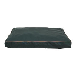 "Carolina Pet Company - Indoor/Outdoor Faux Gusset ""Jamison"", Green, 42"" X 30"" X 4"" - Great for decks, patio's or dog houses.  These 100% polyester beds can handle all your outdoor activities.  Indoor or out, these beds are great for older incontinent pets too.  Hose down to clean, the water runs right through or machine wash.  UV protected to keep color from fading."