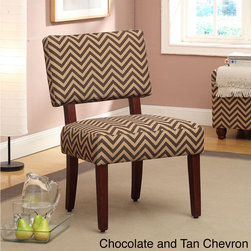None - Modern Pattern Easy-care Accent Chair - Styled in vibrant colors and contemporary patterns, you'll love how this piece seamlessly ties the room together. This accent chair has a cushioned seat and back rest, with legs finished in a mid-brown veneer.
