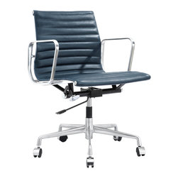 M341 Eames Style Office Chair in Navy Blue Italian Leather - Swivel, roll and lift up and down as you please. You are the boss of the office and the world. Fabricated with fine leather, you will look fabulous in this executive, management office chair.