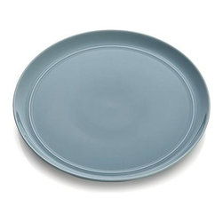 Hue Blue Dinner Plate - Our fresh, contemporary porcelain pattern from designer Aaron Probyn tells a mix 'n' match color story, hand-glazed in eight soft, soothing hues. Simple artisanal shapes feature grooved detailing and a glowing, glossy finish, here in serene sky blue. Due to their handcrafted nature, slight variations will be present. Also available in ivory, white, dark grey, taupe, green, light grey and blush.