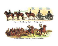 Buyenlarge - Field Battery Ready for Inspection and Horse Gunners at a Field-Day 24x36 Giclee - Series: British Army Life