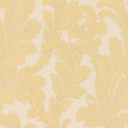 Gold Leafed Textured Metallic Wallpaper - Give your walls a traditional look with a modern flare with wallpaper from the Regent Collection by Brewster.