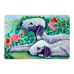 Caroline's Treasures - Bedlington Terrier Kitchen Or Bath Mat 24X36 - Kitchen or Bath COMFORT FLOOR MAT This mat is 24 inch by 36 inch.  Comfort Mat / Carpet / Rug that is Made and Printed in the USA. A foam cushion is attached to the bottom of the mat for comfort when standing. The mat has been permenantly dyed for moderate traffic. Durable and fade resistant. The back of the mat is rubber backed to keep the mat from slipping on a smooth floor. Use pressure and water from garden hose or power washer to clean the mat.  Vacuuming only with the hard wood floor setting, as to not pull up the knap of the felt.   Avoid soap or cleaner that produces suds when cleaning.  It will be difficult to get the suds out of the mat.