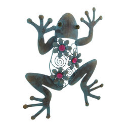 Zeckos - Metal Blue Frog Wall Sculpture with Pink Flowers Distressed Finish - This frog will make your walls something to croak about This playfully pretty blue frog features coiled wire details and flowers accented with bright pink faceted jewels that add a 'pop' of color anywhere it's hung Sculpted from metal, this bejeweled jumper is hand-painted in a distressed blue verdigris finish, and easily hangs by the attached hanger, and measures 20 inches (51 cm) long, 15 inches (38 cm) wide and 1.5 inches (4 cm) deep. Hang it outside near your entryway or in the garden, or inside in the living-room bringing color to a plain wall