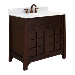 "Sagehill Designs - Sagehill Designs PD3621D Merlot Parkdale 36"" Wood Vanity Cabinet from - 36"" Solid Maple Vanity Cabinet from the Parkdale Collection The Parkdale Collection from Sagehill Designs is a series of fine bath furnishings perfect for your life and times. This exciting new collection combines traditional American Shaker design themes with a casual contemporary Asian aesthetic.  Framed doors and drawers, tapering legs, and an overall simplified design allow these cabinets to be placed in a wide variety of bath environments. Optional obcurrred glass door panels come with each unit for a distinctive personal touch. The Parkdale Collection pieces are unique in that they are crafted from select hardwood solids and veneers.  The cabinets and matching mirrors feature open fret doors and crown details, ample storage, adjustable levelers and shelves, a variety of widths, and fine furniture craftsmanship.  Each piece is designed to provide the utmost in style, storage, and durability. Finally our beautiful hand-rubbed finish allows the beauty of the wood grain to shine through.  Let the Parkdale Collection complement your bath interior and lifestyle.    Product Details:  Overall Dimensions: 36""W x 21""D x 34""H Constructed of Maple hardwoods Maple wood veneers (real wood) Shaker design with casual Asian themes. Doors Feature a soft-close mechanism to prevent slamming (see spec sheet below) Unique Interior pull-out drawer (see spec sheet below) Drawer features dove-tail construction (see spec sheet below) Smooth-glide ball-bearing drawer glides (see spec sheet below) Finished cabinet interior Tapered cabinet legs and mirror pilasters Multi-step hand-rubbed finish Unique door and mirror fret details Adjustable floor levelers Decorative bracket base detail Crated and shipped assembled Availa"
