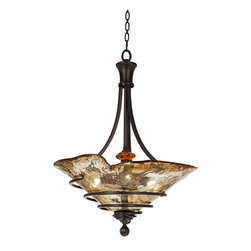"Uttermost - Traditional Uttermost Vitalia Collection 3-Light Pendant Chandelier - Featuring a frame of hand-wrought metal curling around heavy handmade toffee art glass this charming pendant chandelier is a captivating decor accent. From Uttermost. Oil rubbed bronze finish. Hand-wrought metal construction. Toffee art glass. Takes three 100 watt bulbs (not included). 22"" wide. 30"" high. Canopy measures 5"" wide. 12 lbs. hanging weight.  Oil rubbed bronze finish.   Hand-wrought metal construction.   Toffee art glass.   Takes three 100 watt bulbs (not included).   22"" wide.   30"" high.  Canopy measures 5"" wide.  12 lbs. hanging weight."