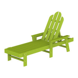 "Polywood POLYWOOD® Long Island Chaise in Lime - Kick back and relax Bring the easy comfort of a day at the beach to your outdoor living area with the stylish and eco-friendly Long Island Chaise inspired by the classic Northeast Adirondack with a twist of modern design. You don't need a house in the Hamptons to create your own breezy get away with these classically styled pieces constructed from HDPE material – an incredibly durable material made from post-consumer bottle waste, such as milk and detergent bottles. Solidly constructed with stainless steel hardware, these pieces will stand the test of time and can withstand the elements with very little maintenance.  The Long Island Chaise will not absorb moisture and requires no waterproofing, painting or staining to maintain their bright color for years. The colors are blended into the material all the way through, and are UV-resistant. Minimal assembly is required.  The collection includes the Long Island Adirondack Chair and the South Beach Ottoman.  Available colors: Sunset Red, Tangerine, Lemon, Lime, Aruba, Pacific Blue, Teak, White, and Black.  Dimensions Long Island Chaise – 37.25""H x 26.5""W x 75.5""D, Seat height – 12"", Seat size – 20"" x 43.25""   Care: Wash with mild soap and water. They can be power washed at pressures below 1,500 PSI.Please allow 2-3 weeks to ship"