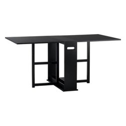 """Span Black Gateleg Dining Table - An ingenious classic for modern times, our slender gateleg table opens to a generous 65�"""" wide to accommodate up to four guests, then folds up to a slim 9�"""" wide to stow away until your next gathering. Compact design can also function as a sleek console against a wall. Wood construction with an oak veneer tabletop, finished in black."""