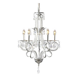 Z-Lite - Parisian Brushed Nickel 5-Light Crystal Chandelier - Light bulbs not included