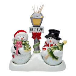 """Cosmos - Two Snowmen Salt and Pepper Shakers with """"Believe"""" Toothpick Holder - This gorgeous Two Snowmen Salt and Pepper Shakers with """"Believe"""" Toothpick Holder has the finest details and highest quality you will find anywhere! Two Snowmen Salt and Pepper Shakers with """"Believe"""" Toothpick Holder is truly remarkable."""