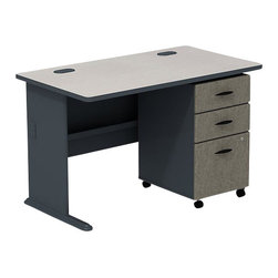 "BBF - BBF Series A 48W Desk with 3-Drawer Mobile Pedestal (Assembled) - BBF - Commercial Grade Office - SRA025SLSU - The clean linear styling and generous workspace of the BBF series A 48""W desk and 3-Drawer Mobile Pedestal create a classic office space anywhere and the flexibility to add more components as you grow and a White Spectrum finish contrasted by Slate Gray accents makes a statement in any space. The large work surface is constructed of durable thermally fused laminate and edged with PVC banding designed to resist scratches stains nicks and dents to keep your workstation looking good. The 48""W desk features a wire management system with desktop and leg grommets to help keep its clean look and the C-leg design provides extra leg-room. The versatility of the 3-Drawer Mobile Pedestal rounds out the package with its ability to extend your work space or fit neatly under the desktop. The Mobile Pedestal keeps any office space efficient featuring two box drawers with �-extension ball bearing slides for office supplies and a full-extension lockable file drawer on ball bearing slides to accommodate letter legal and A4 file sizes with full back access. Solid construction meets ANSI/BIFMA test standards in place at time of manufacture; this product is American made and is backed by BBF 10-year warranty."