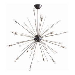 "Arteriors - Arteriors Home - Imogene Large Chandelier - 89978 - Inspired by a trip to Paris, this 24 light modern starburst design in polished nickel is the perfect choice if you want drama, lots of light and a mid-century look. Also available in a smaller size (89977). Shown with small clear globe bulbs. Features: Imogene Collection Chandelier 24 Lights Polished Nickel FinishCrystalBlack Some Assembly Required. Dimensions: Adj. H: 46"" 58"" x 42"" Dia"
