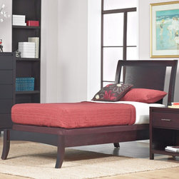 Domusindo - Floating Panel Twin-size Sleigh Bed - This sleek Nevix bed frame features a low-profile,sleigh bed design with a beautiful espresso color. This bed is both durable and attractive,making it the perfect choice for any room.