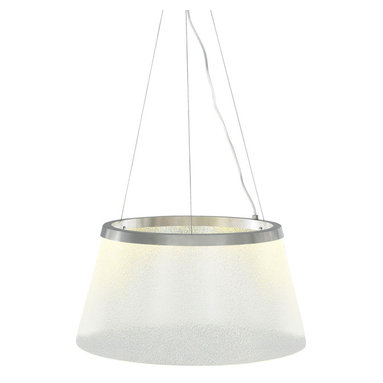 Duke Grande Suspension by LBL Lighting - Duke grande suspension features glass shade with mica flakes (silver mica) or spherical glass beads (fizz) embedded onto the glass and edge-lit by LED's. Available in satin nickel or bronze finish.