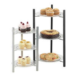 Cal Mil - 11.5W x 11.5D x 23.125H One by One Tiered Plate Display Black 1 Ct - These Black and Silver tiered risers are a fantastic way of mixing up your food presentation. By choosing both the frame and shelf color these risers can be customized to perfectly suit your own design