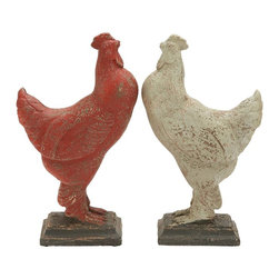 Benzara - Rooster Assorted with Prolonged Shelf Life - Flaunting fine detailing, these roosters make your garden look idyllic and rustic. They are crafted with precision and highlight fine details. You can showcase the decorative item on the porch, patio, or in the garden to add a lively and pastoral look The sideways facing roosters on a pedestal can be placed on any kind of surface. The roosters are smeared in bold red and white colors, and the pedestal is glazed with black hue. These roosters look arty and feature a vintage appeal. . You may use place them at the entrance to express your love for farm animals. They are also an excellent gifting item. You may gift these roosters to anyone who loves the country side or has a penchant for antique-looking items. These roosters are constructed of highly durable material, ensuring prolonged shelf lives.