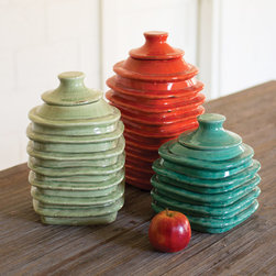 Colorful Ringed Canister - These happy-hued ceramic canisters add warm Southwestern color and handmade-style texture to your counter-tops. Each size is a different color, so combine them how you please for your own style statement.