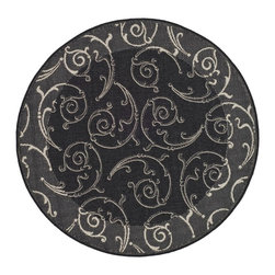 """Safavieh - Indoor/Outdoor Courtyard Round 5'3"""" Round Black - Sand Area Rug - The Courtyard area rug Collection offers an affordable assortment of Indoor/Outdoor stylings. Courtyard features a blend of natural Black - Sand color. Machine Made of Polypropylene the Courtyard Collection is an intriguing compliment to any decor."""