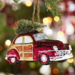 Woody Car Glass Ornament - This woody wagon with the tree on top fills me with nostalgia, reminding me of days when my parents had a family truckster and would precariously tie the tree to the top of it and cross our fingers all the way home.