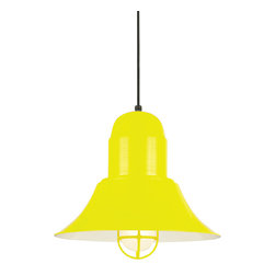 "THE EASTON CORD-HUNG CEILING LIGHT - 16"" Easton shown in 93-Yellow Finish, CGU-FR Accessory, & BLO-CB8 Mounting"
