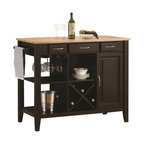 """Coaster - Kitchen Cart (Natural/Cappuccino) By Coaster - This kitchen island is crafted with a solid rubber wood butcher block work surface. Finished in a natural and cappuccino. Find great use of its three drawers, stemware rack, open storage and wine bottle holder. Dims: 43.25"""" X 21.50"""" X 36""""."""