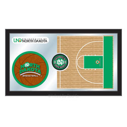 "Holland Bar Stool - Holland Bar Stool North Dakota Basketball Mirror - North Dakota Basketball Mirror belongs to College Collection by Holland Bar Stool The perfect way to show your school pride, our basketball Mirror displays your school's symbols with a style that fits any setting.  With it's simple but elegant design, colors burst through the 1/8"" thick glass and are highlighted by the mirrored accents.  Framed with a black, 1 1/4 wrapped wood frame with saw tooth hangers, this 15""(H) x 26""(W) mirror is ideal for your office, garage, or any room of the house.  Whether purchasing as a gift for a recent grad, sports superfan, or for yourself, you can take satisfaction knowing you're buying a mirror that is proudly Made in the USA by Holland Bar Stool Company, Holland, MI.   Mirror (1)"
