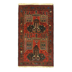 "Torabi Rugs - Hand-knotted Finest Rizbaft Dark Red Wool Rug 3'10"" x 6'7"" - Royal Rizbaft Balouch rugs are handwoven tribal rugs from Eastern Afghanistan. These are primarily woven by Pashtun and Baluch nomad artisans. Handmade from 100% natural wool, in floral and all over pattern designs with very dense weave.  Durable, they mostly come in smaller sizes."