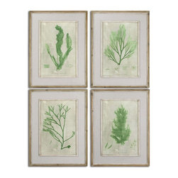 Emerald Seaweed Framed Art S/4 Coastal D�cor - *Prints Are Accented By Off-white Linen Mats Then Surrounded By Reclaimed Wooden Frames Finished In Black With Light Brown Wash