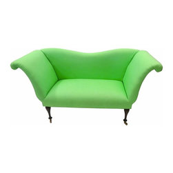 Lime Green Settee - French-style inverted camelback settee newly reupholstered in a lime green linen with wheels.  High scrolled arms complete its look.  Perfect for any room that needs a pop of color.
