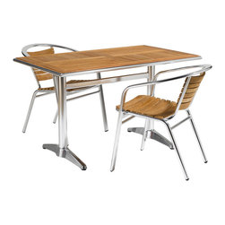 Sherwood/Shirley Wood/Aluminum 7 PC Dining Set - Combination of natural teak and aluminum makes this Dining Set (Table and 6 Chairs)  visually charming and perfect for any modern home.