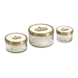"""IMAX - Crown Jars w/ Brass and Porcelain Lid - Set of 3 - One of our favorite royal themed sets, the Crown jars feature brass designs paired with porcelain accented lids for a richly adorned vanity or counter top accessory. Item Dimensions: (2-2-2.5""""h x 2.5-3.5-4""""w x 2.5-3.5-4"""")"""