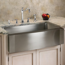 """30"""" Optimum Stainless Steel Farmhouse Sink - Wave Front - The interior well of the Optimum Wave-Front Stainless Steel Farmhouse Sink is deep enough for almost any food preparation or cleanup task. With the beautiful matte finish, this sink is sure to be a striking focal point for any room."""