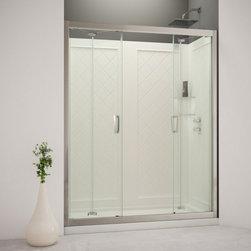 "DreamLine - DreamLine DL-6123R-01CL Butterfly Shower Door, Base & Backwalls - DreamLine Butterfly Frameless Bi-Fold Shower Door, 36"" by 60"" Single Threshold Shower Base Right Hand Drain and QWALL-5 Shower Backwall Kit"