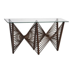 Oggetti - Geo Console Table - Features: -Designed by Vito Selma.-Includes beveled glass top.-Dark or Medium brown finish.-Geo collection.-Collection: Geo.-Distressed: No.Dimensions: -Glass top dimensions: 0.625'' H x 72'' W x 20'' D.Warranty: -Manufacturer provides one year warranty.