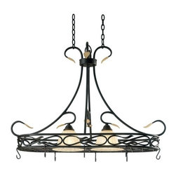 """Kenroy Home - Kenroy Home 91562 Two Light Pot Rack Countryside Collection - Two Light Pot Rack FixtureFeaturing Frosted Cream GlassRequires Two 60W Medium Based Bulbs (not included)120"""" wire and 72"""" chain included"""