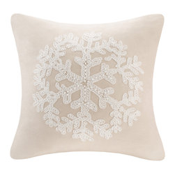 Madison Park - Madison Park Snowflake Embroidered Poly Suede Feather Down Filled Square Pillow - Add a feminine touch into your home with this square snowflake suede pillow. The snowflake is embroidered on a rich tan suede with delicate French knots for a soft and luxurious look.