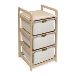 Hamper 3-Drawer Storage Unit - The Badger Basket White 3 Drawer Hamper/Storage Unit comes with 3 canvas basket drawers available in 2 wood finishes. Wood frame in your choice of natural or cherry finish with sturdy wood top shelf. Easy pull out drawers quickly load and unload with stoppers on the drawer track. Drawer bottoms have supportive hard panels to prevent sagging. Canvas drawers are 80% cotton 20% polyester and easily spot cleaned. Ideal for laundry/clothes toy hats winter items baby items the uses are endless. Overall dimensions: 15W x 14D x 29.5H inches Drawer dimensions: 12L x 11.5W x 6.5H inches. Some assembly required. Badger Basket CompanyFor over 65 years Badger Basket Company has been a premier manufacturer of baskets bassinets bassinet bedding changing tables doll furniture hampers toy boxes and more for infants babies and children. Badger Basket Company creates beautiful and comfortable products that are continually updated and refreshed bringing you exciting new styles and fashions that complement the nostalgic and traditional products in the Badger Basket line.