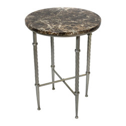 ecWorld - Urban Designs Marble Top Round Metal Accent and End Table - Beautifully crafted, the Firenze accent table offers a sophisticated presence that may be blended with contemporary to traditional furnishings. Its round shape lets it work well in small spaces or in rooms with L-shaped sectionals. Form and function make this piece a must have addition to any decor.