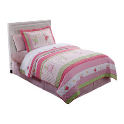 Pem America - Fairy Ballerinas Twin Quilt with Pillow Sham - Large fairy ballerinas dancing on a bed of pastel pinks and greens. Set includes 1 twin quilt (68x86 inches) and 1 standard sham (20x26 inches). Face cloth is pieced 100% cotton. Filled with 94% cotton / 6% other fibers. Prewashed for comfort. Hand crafted with embroidery. Machine Washable.