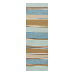 Jaipur Rugs - Flat Weave Stripe Pattern Blue Wool Handmade Rug - CC06, 2.6x8 - Fashion-forward color and a soft texture highlight the relaxed sophistication of the Coastal Living Dhurries Collection. Ideal for any casual lifestyle, the boldly striped, flat-woven pieces are easily cleaned - ideal for lounging after a day spent at the beach.