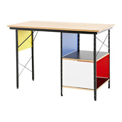 Herman Miller - Eames Compact Desk - This hardworking desk is a way ahead of its time. The modular lines and high-tech aesthetic blend beautifully with today's modern interiors. This compact model has a smaller footprint that allows you to place it in your home office or a nook in the kitchen or family room.