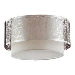 "ParrotUncle - Steel Leaf Pattern Drum Frame Modern Style Linen Flush Mount, Dia.15"" - Hanging this Steel Leaf Pattern Drum Frame Modern Style Linen Flush Mount in your living room or bedroom, you'll start critiquing every other lighting fixture in the house. The light's unique design will change the way you think about illuminating a room."