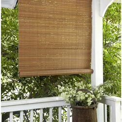 None - Fruitwood Brown Outdoor Roll Up Patio Shade - Create a cool and comfortable private haven on your patio, sunporch or deck and relax outdoors using this fruitwood/brown faux bamboo PVC shade. This shade will provide sun and wind block at a good value with an expensive look for any decorating style.