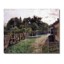 Picture-Tiles, LLC - Village Scene Tile Mural By Theodore Steele - * MURAL SIZE: 32x40 inch tile mural using (20) 8x8 ceramic tiles-satin finish.