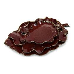 CKI Crimson Autumn Leaves - Set of 3 - Carolyn Kinder Designed Set of Three Matching Ceramic Crimson Colored Autumn Leaf Platters