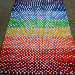 Hand Woven Recycled T-Shirt Rag Rug, Rainbow Fun by The Someday House - This eco-friendly, recycled-T-shirt rug would turn any room into a rainbow.