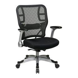 Office Star - Space Seating 215 Series Deluxe R2 SpaceGrid Back Chair - Deluxe breathable r2 spacegrid back with adjustable lumber support. Thick padded black mesh seat. Pneumatic seat height adjustment. Self adjusting mechanism adjusts tilt tension by using your body weight as a counter-balance resulting in perfect balance as you recline. Mechanism also features backrest lock and anti-kickback. Platinum coated padded flip arms with PU pads. Heavy duty platinum coasted base with black end caps oversized dual wheel carpet casters.
