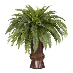 Boston Fern with Bamboo Vase Silk Plant - Such an elegant piece! At 33 inches high, this Boston Fern with Bamboo vase is the perfect touch of greenery to brighten up an area. Set in an exquisite multi toned Bamboo vase the long feathery leaves spill out in a cascade of greenery that's sure to delight. Stays green forever with no need for upkeep. Height= 33 in x Width= 30 in x Depth= 30 in