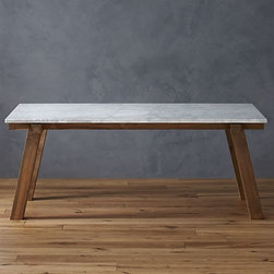 Riviera Rectangular Marble Top Dining Table - Is there anything better than dining outdoors on warm summer nights? This sturdy table has a marble top and will last for many years to come.
