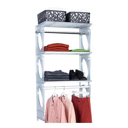 KiO - KIO 5' Closet & Shelving Kit, Frost by KIO - KiO's Closet in a Box is the organizer's favorite shelving system for easy to install, incredible strength and revolutionary design. The KiO kit requires no cutting tools, includes adjustable hanging rods and can be installed in as little as 20 minutes. Add extra shelves to your kit with the purchase of KiO 2-pack Shelf Bundle.